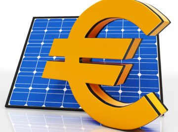 Solar Panel And Euro Showing Saving Energy
